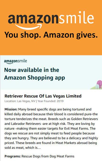 Amazon Smile Retriever Rescue of Las Vegas